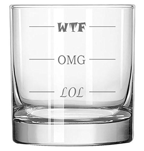 Fineware LOL-OMG-WTF Funny Rocks Glass - Finally a Rocks Glass for Every Mood! 11 oz Highball Glass