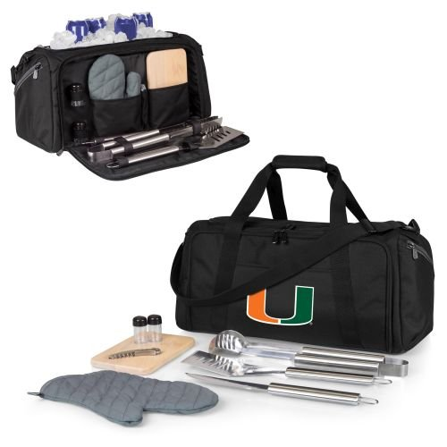 (PICNIC TIME NCAA Miami Hurricanes BBQ Kit Cooler Tote with Barbecue & Accessories)