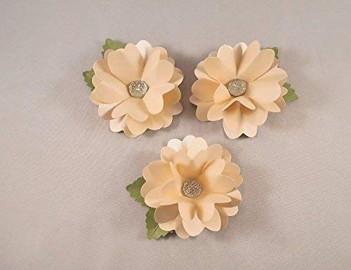 Handmade Peach Paper Flower Embellishments Party Decor Scrapbook Cake Flowers Table Decorations Set of 6 Package Toppers
