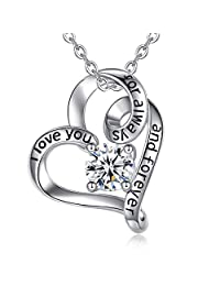 """EUDORA Heart Necklace I Love You for Always and Forever CZ S925 Sterling Silver Necklace, I Love You Three Thousand I Love You to the Moon and Back Gifts for Women, 18"""""""