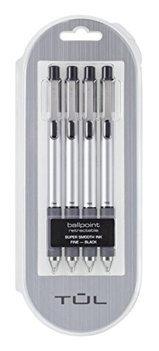 TUL BP3 Ballpoint - 4 Pack, Retractable, Fine 0.8mm, Black Ink