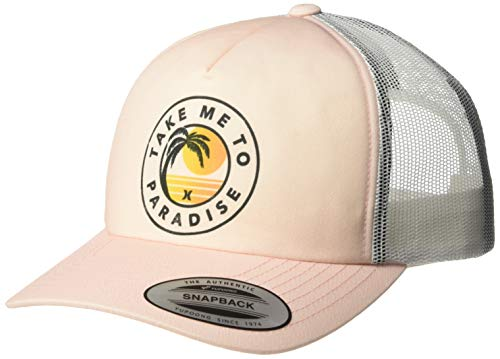 Hurley Women's Apparel Women's Take Me to Paradise Trucker Hat, Pink Tint, One Size Fits All (Hat Women Hurley)