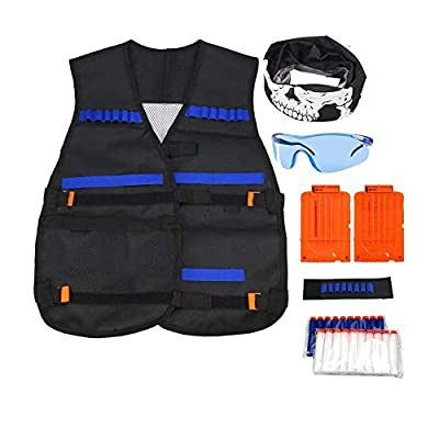 Kids Elite Tactical Vest with 20 pcs Soft Foam Darts +2 pcs Reload Clips+Facecloth+ Protective Glasses+ Hand Wrist Band for Birthday and Christmas: Toys & Games