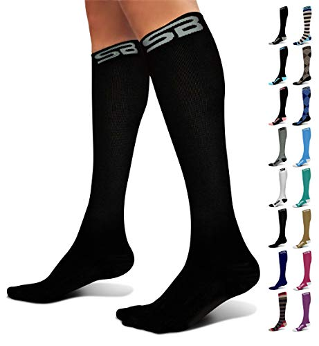 SB SOX Compression Socks (20-30mmHg) for Men & Women - Best Stockings for Running, Medical, Athletic, Edema, Diabetic, Varicose Veins, Travel, Pregnancy, Shin Splints (Solid - Black, Large)