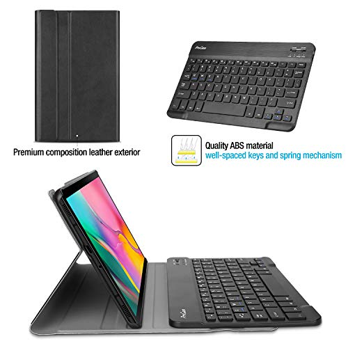 ProCase Galaxy Tab A 10.1 2019 Keyboard Case T510 T515 T517, Slim Shell Lightweight Cover with Magnetically Detachable Wireless Keyboard for Galaxy Tab A 10.1 Inch SM-T510 SM-T515 SM-T517 2019 -Black