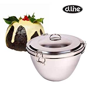 Pudding Steamer 2.8 Litre Stainless Steel Fruit Cake Bowl with Christmas pudding recipe
