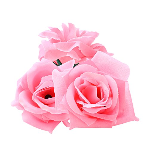 Artificial flowers for crafts amazon tinksky 20pcs artificial curving brim rose flower craft home wedding party decoration pink mightylinksfo