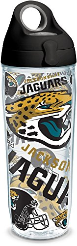 Tervis 1304799 NFL Jacksonville Jaguars All Over Insulated Tumbler with Wrap and Black with Gray Lid, 24oz Water Bottle, Clear