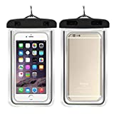 LiaoTI 2pcs Universal Waterproof Case,Cellphone Dry Bag Pouch,with Luminous for iPhone,Samsung,Huawei,Xiaomi and More Black