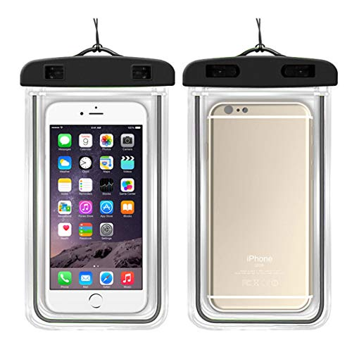 LiaoTI 2pcs Universal Waterproof Case,Cellphone Dry Bag Pouch,with Luminous for iPhone,Samsung,Huawei,Xiaomi and More