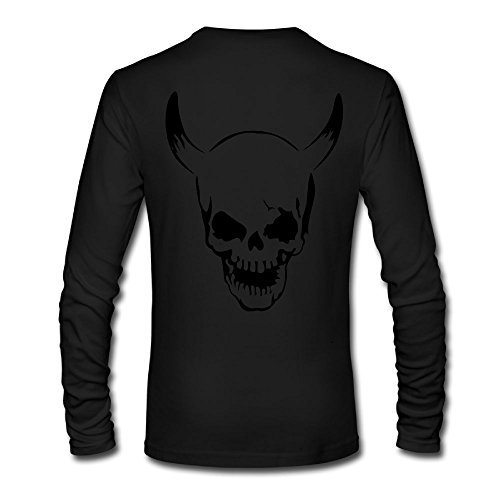 Moshiwenq Skull With Horns Custom Men's Blank Long Sleeve T-Shirt Size L Color - Outlets Sales Jersey Shore