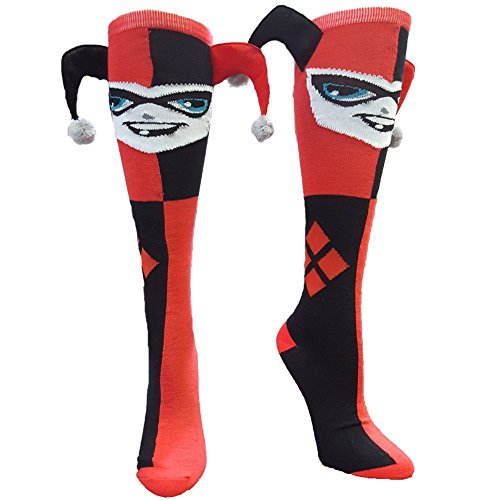 Harley Quinn Jester Knee High Socks, Red, One Size Fits Most (Shoe Size 5-10)