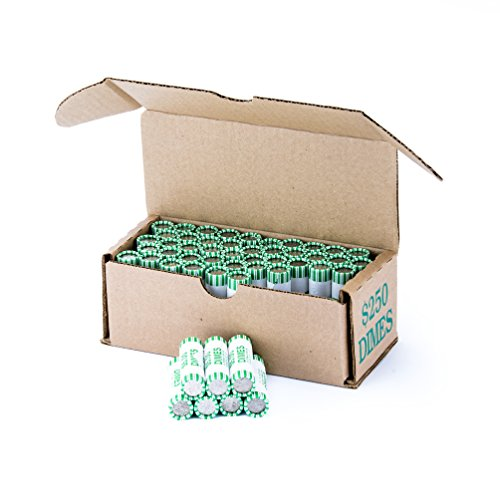 Dime Storage Box Green Holds 50 Wrapped Coin Rolls, 50 boxes