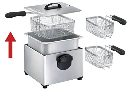 T-fal FR3900 Triple Basket Deep Fryer with Stainless Steel Removable Pot and Professional Heating Element, 4-Liter, Stainless Steel