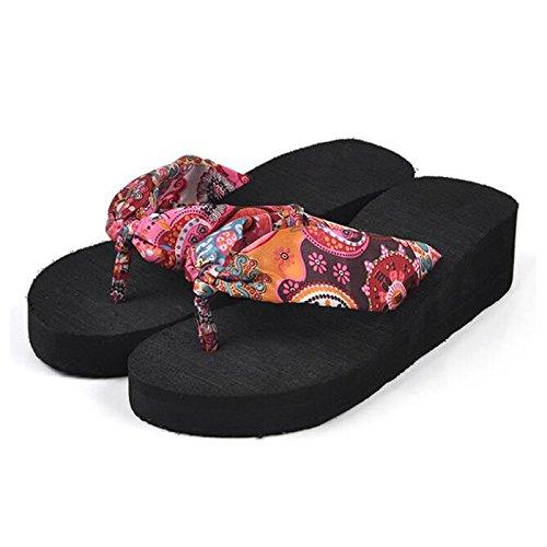 SODIAL(R) Sommer Boehmen Blume Frauen Flip Flops Plattform Keile Frauen Sandalen Plattform Flip Pantoffeln Strand Schuhe US Groesse 5 beige Schwarz