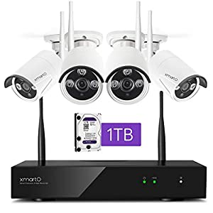Flashandfocus.com 41-ziknw0CL._SS300_ [Dual WiFi 3MP Audio Camera] xmartO Home Security Camera System Wireless with 4X 3MP Wireless Cameras Outdoor for Home…