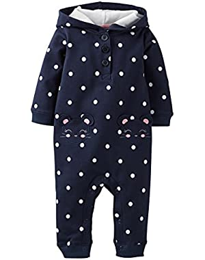 Carters Baby Girls Mouse Pocket Hooded Jumpsuit