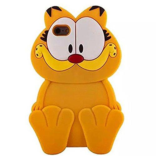 iphone 7 Cat Case,iphone 7 Cartoon Gel Case,MODEFAN Cute 3D Cartoon Garfield Cat Style Rubber Silicone Soft Gel Skin Case Cover for Apple iPhone 7