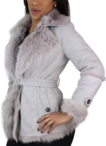 Veste Femme Peau de Mouton et Fourrure Style Trench avec