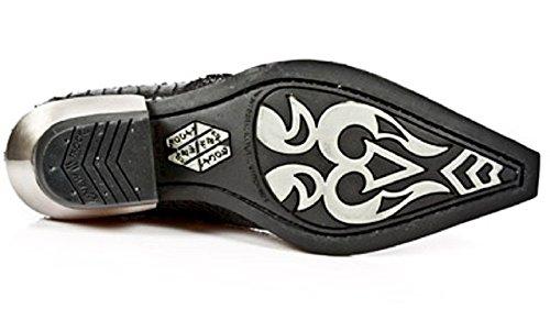 New Noir Rock peau de crocodile cubain style formelle intelligente Argent Heel Shoe / Side with Buckles