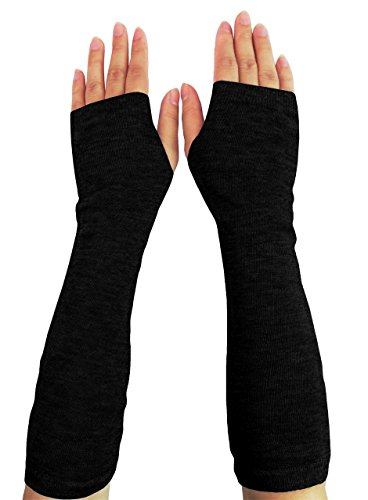 Women Stretchy Long Sleeve Fingerless Gloves (Knitted-Black) One Size