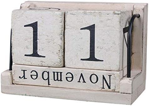Lanceasy Holz Kalender, Holz Vintage Style Perpetual Calendar Wood Block Home Office Desktop-Dekoration
