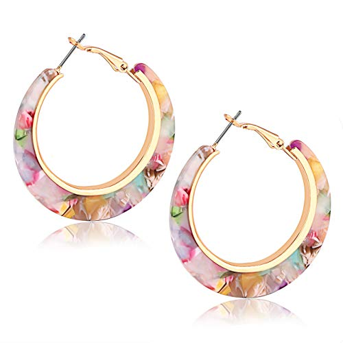- XOCARTIGE Acrylic Hoop Earrings for Women Tortoise Resin Earrings Bohemia Statement Dangle Earring Studs for Girls (C Pink Flower)