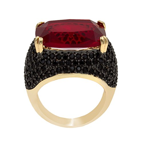 Lavencious Luxury Square Ruby Black Cocktail Fashion Trendy Ring Size 6-12 Cubic Zirconia Jewelry for Women (Red, 7) -