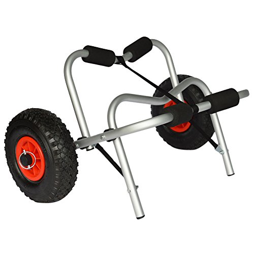 Foldable Aluminum Jon Boat Kayak Cart Canoe Carrier Tote Trolley Dolly Trailer Transport Cart Wheel 75KG Load Capacity
