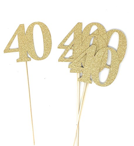 PaperGala Set of 8 Number 40 Centerpiece Sticks for Fortieth Anniversary Reunion 40th Birthday (Gold)
