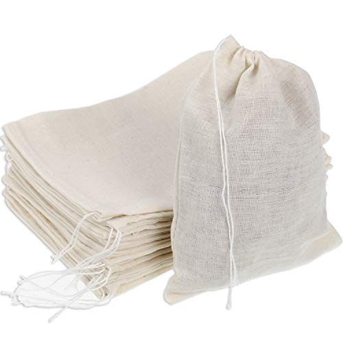 Pangda 100 Pieces Drawstring Cotton Bags Muslin Bags for Party Favor Home Supplies, 5 by 7 Inches Cotton Muslin Drawstring Bags