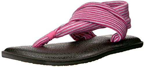 Sanuk Kids Yoga Sling Burst Sandal (Toddler/Little Kid/Big Kid), Fuchsia/Purple Stripes, 7/8 M US - Fuchsia Little Apparel Kids