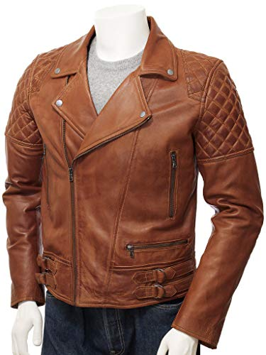 Men's Motorcycle Cafe Racer Vintage Distressed Jacket Collection On Amazon (Brown - Brando Classic Diamond Distressed Biker Leather Jacket, X-Small/Body Chest 36