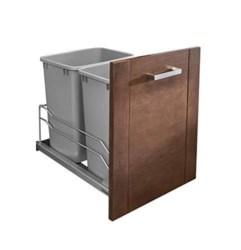 (Rev-A-Shelf - 53WC-1835SCDM-217 - Double 35 Qt. Pull-Out Silver Waste Container with Soft-Close Slides)