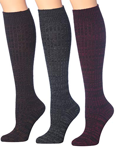 Boot Sock Blend (Tipi Toe Women's 3 Or 6-Pairs Ragg Marled Ribbed Mid-Calf High Wool-Blend Boot Socks (3-pairs (WK02-F)))