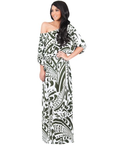 Koh Koh Women's One Shoulder Retro Graphic Print Long Cocktail Evening Maxi Dress - XX-Large - Olive Green & White