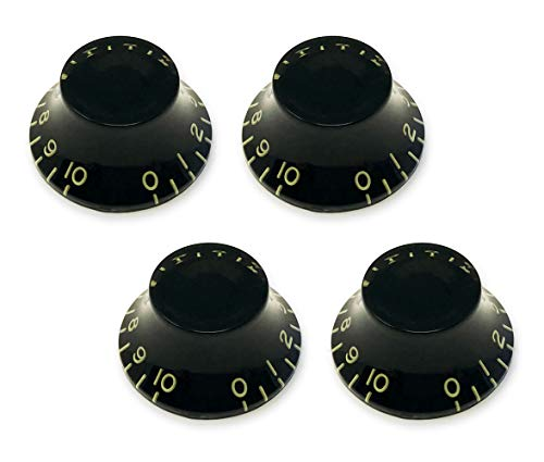 Aged Relic Tinted Black Top Hat Bell Knobs for Gibson Les Paul Electric Guitar (Set of 4) Fits 24 Fine-Spline USA (Imperial) Split Shaft Pots by VINTAGE FORGE BK52US-BLK4