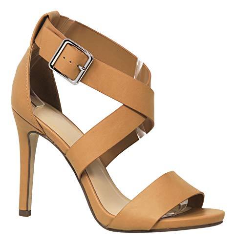 - MVE Shoes Women's Criss Cross Strap Open Toe High Heeled Sandals, Spoken Camel PU 7