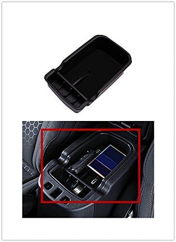 Black Armrest Storage Organizer-Car Center Console Armrest Storage Box Glove Organizer Tray for Jeep Compass 2017