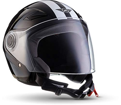 MOTO Helmets U52 jethelm motorhelm, ECE-vizier snelsluiting tas, L (59-60cm), racing zwart
