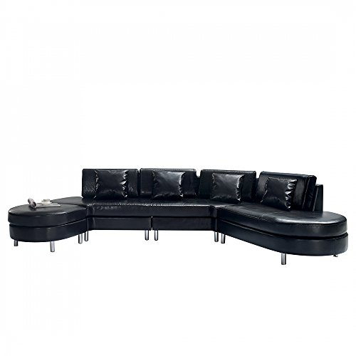 ledercouch schwarz. Black Bedroom Furniture Sets. Home Design Ideas