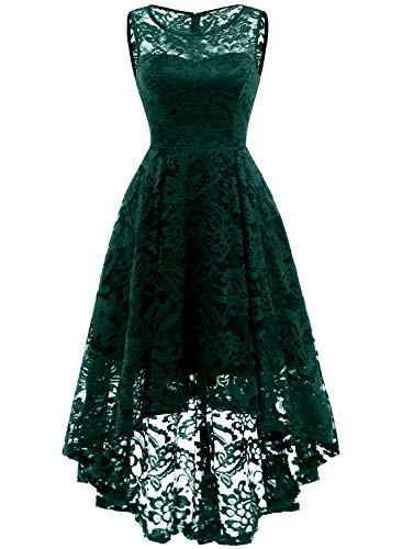 MUADRESS 6006 Vintage Floral Lace Sleeveless Hi-Lo Cocktail Formal Swing Dress S Green
