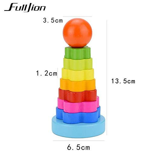 3D Puzzle Wood - Wooden Toys for Children Puzzle Game 3D Jigsaw Tower Tumbler Montessori Toys Educational Maze Rainbow Puzzle Wood Craft Rainbow Tower, A520 ()