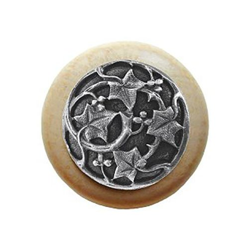 Notting Hill Decorative Hardware Ivy with Berries Wood Knob, Antique Pewter, Natural wood finish