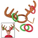 Honearn 2PCS Inflatable Reindeer Antler Hat with Rings Christmas Party Toss Game Family Kids Office Xmas Fun Games