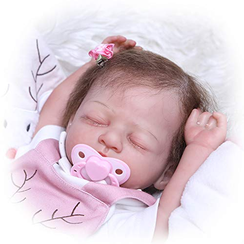 iCradle 100% Hand-Made Soft Silicone Baby Weighted Around 5lbs Realistic Reborn Baby Girl Doll Painted by Genesis Heat Paint Toddler Doll Toy for Age 3+ – Named Chris (Brown)