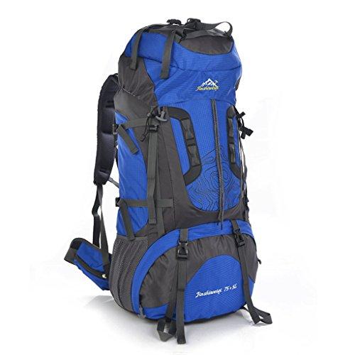 Lo nuevo 80L al aire libre profesional del bolso del alpinismo hombres y mujeres mochila bandolera mochila bolsa de gran capacidad azul real