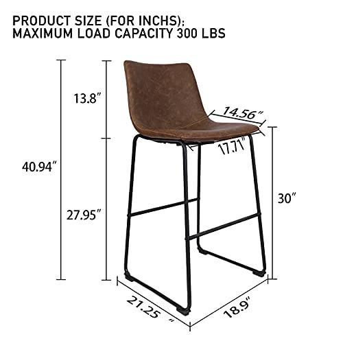 LITARO Bar Stools Set of 2,Counter Height Bar Stools,Tall Stools for Kitchen Island Modern Bar Chairs Upholstered,Light Brown