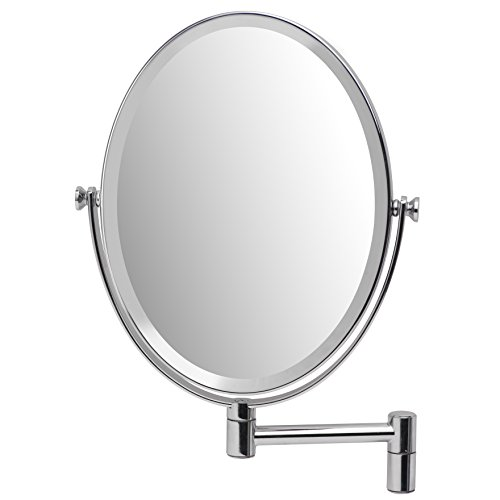 Mirrorvana Oval Wall Mount Makeup Mirror Bathroom, Double Sided 1X & 5X Magnification by Mirrorvana