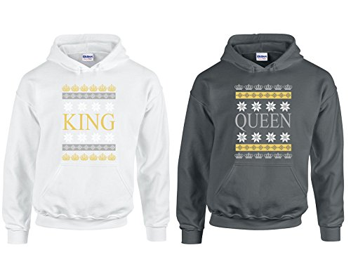 H&T Shirts Valentine's Day Special King and Queen Couple Goal Hoodie Hooded Sweatshirt 2(White-Charcoal,Men-M/Women-M)
